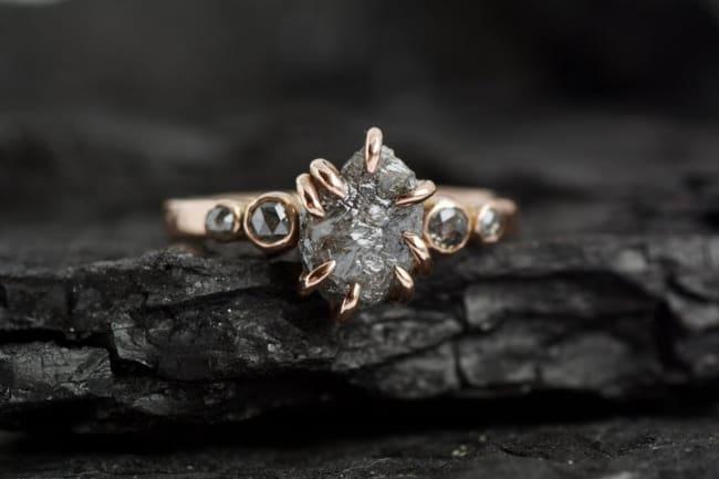 Rustic Raw Gray Diamond Engagement Ring