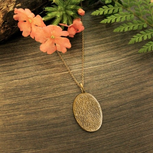 Solid Gold Pendant with fingerprint