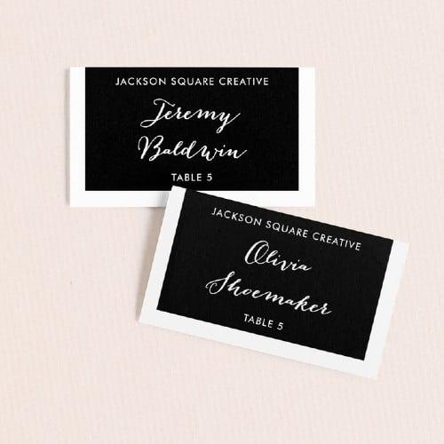 Black & White Tab Escort Cards