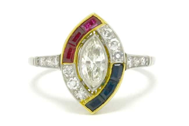Diamond, Sapphire, and Ruby Asymmetrical Halo Engagement Ring