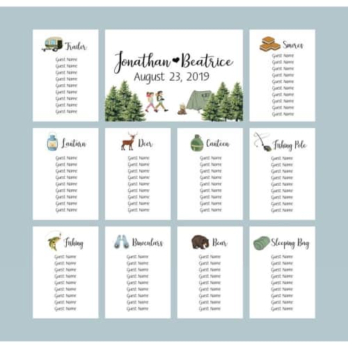 camping theme table assignment cards
