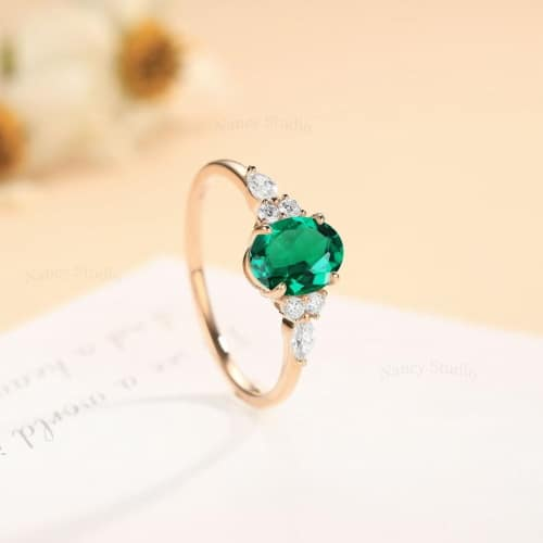Natural Green Emerald Ring With 14K Gold