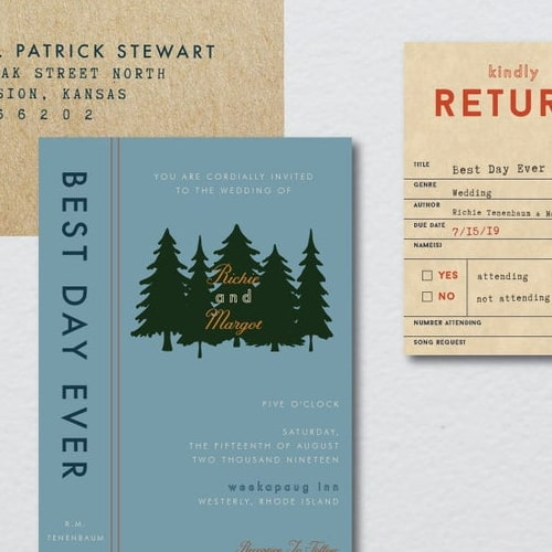 Forest Library Wedding Invite