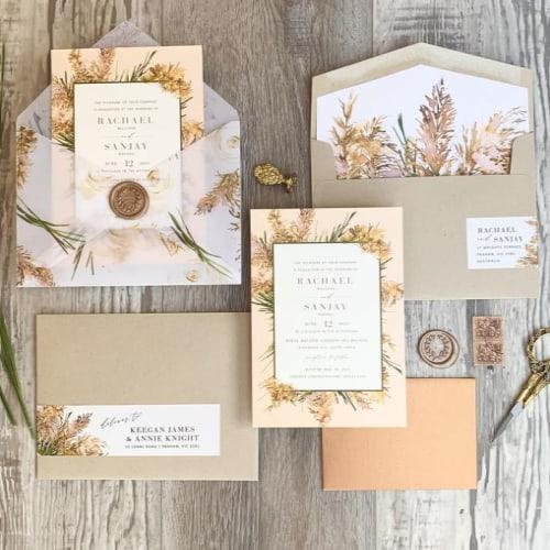 Bohemian Wildgrass Fall Wedding Invite