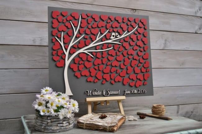 Hearts Wedding Guest Book Tree
