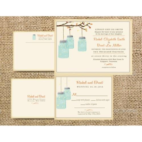 Tree Branch, Fireflies and Mason Jar Invite