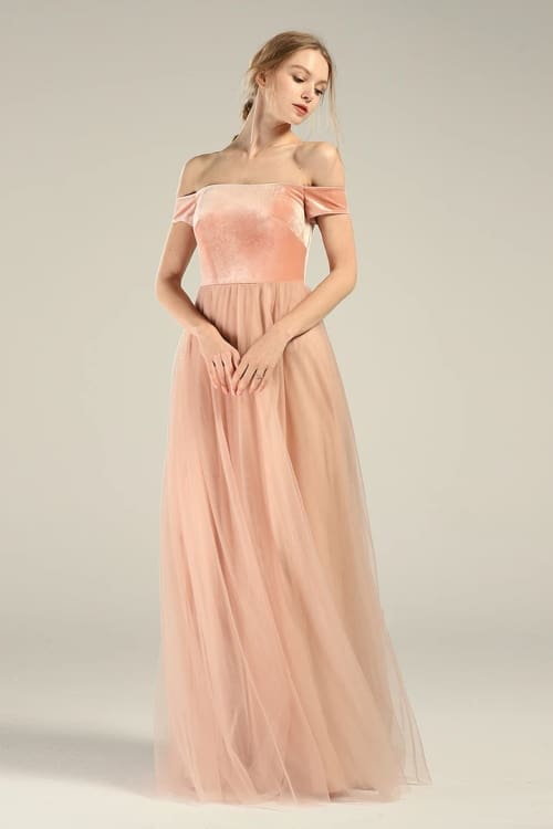 Off the Shoulder Peach Wedding Dress