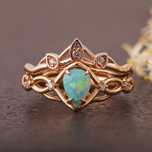 Celtic-Style Opal Bridal Set