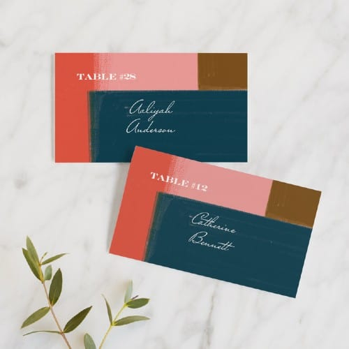 Painted Color Block wedding place card