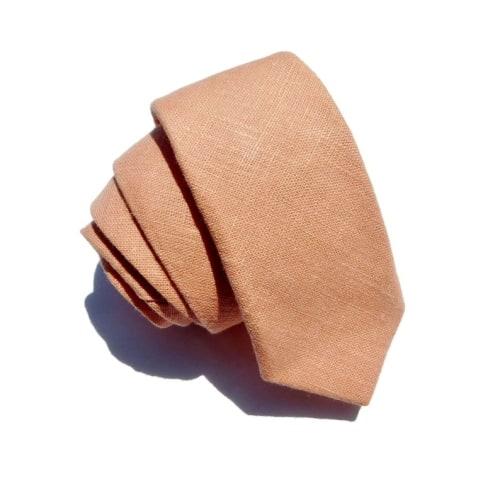 Peach Hopsack Linen Tie