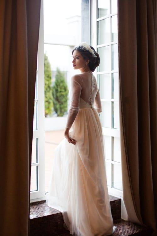 White & Peach Long Sleeve Wedding Dress