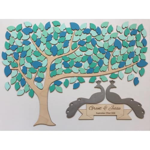 Peacocks Wedding Guest Book Tree