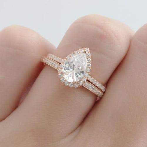 Pear Shaped Moissanite & Natural Diamond Engagement Ring