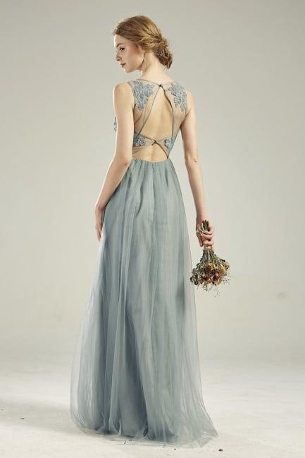 open back blue wedding dress