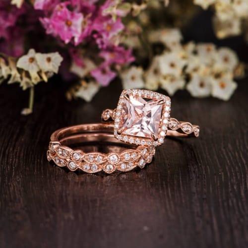 Princess Cut Morganite Engagement Ring