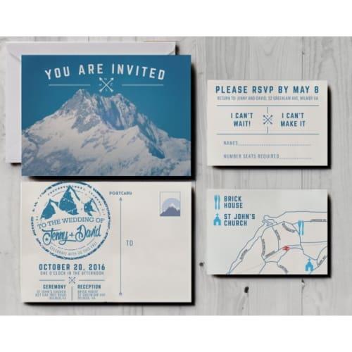 Retro Snowy Mountain Postcard Wedding Invite
