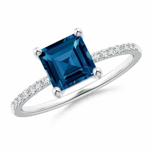 Square Blue Topaz Engagement Ring
