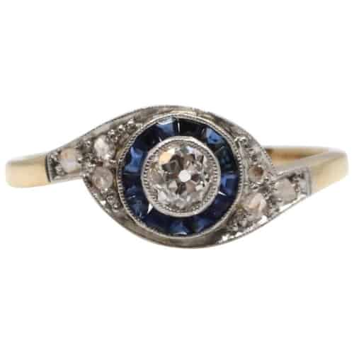 Antique Sapphire and Diamond Art Deco Target Ring