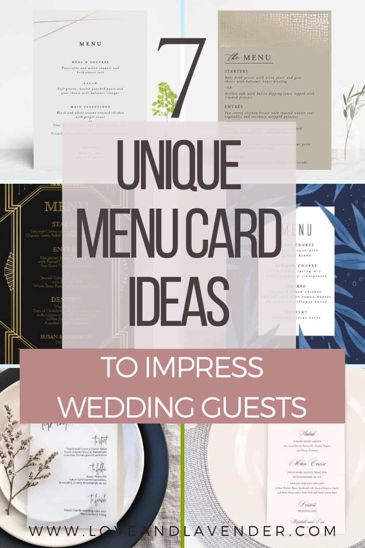 pinterest pin - unique menu cards