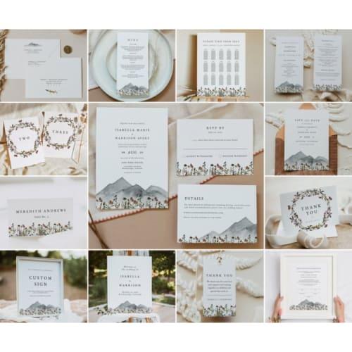 Bohemian Mountain Wildflowers Wedding Invite