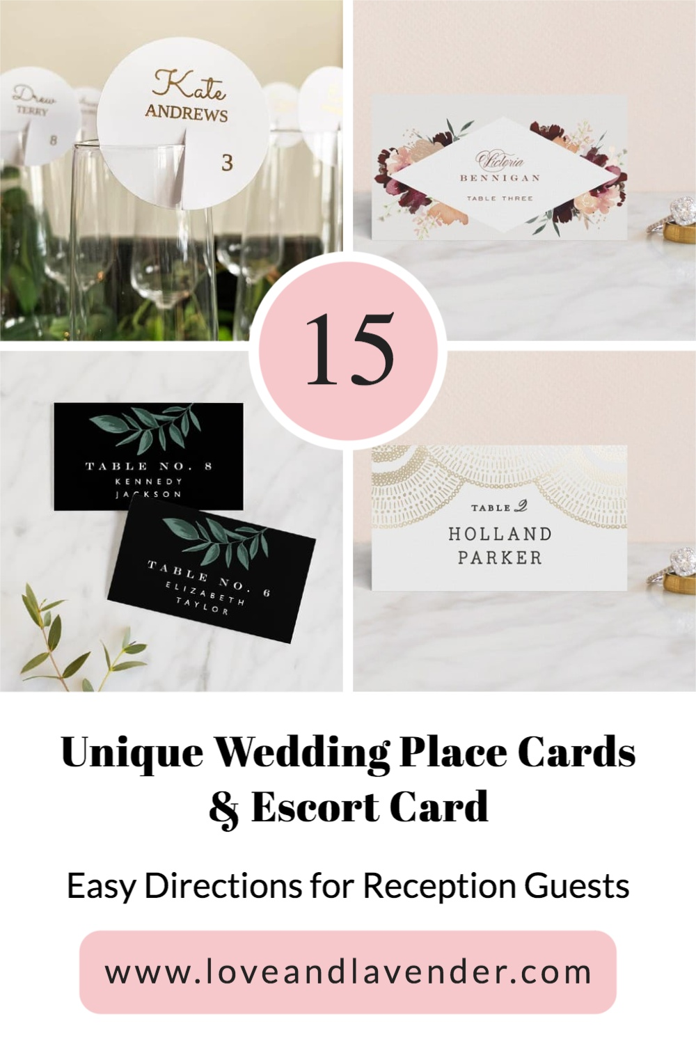 pinterest pin - wedding place cards and escort cards
