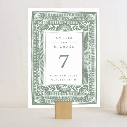 Bohemian Block Print table number sign