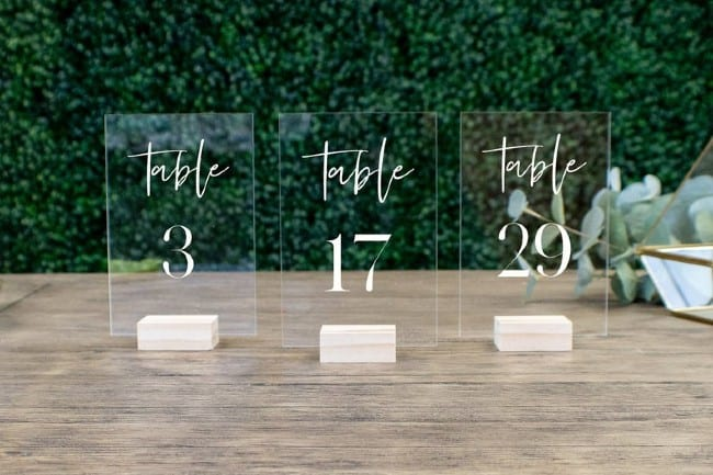 Acrylic Standing Table Numbers