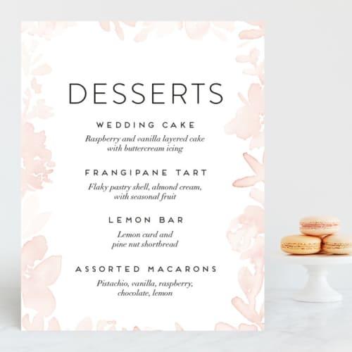 ethereal wedding dessert menu sign