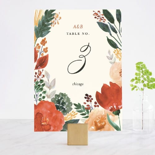 Flourishing Floral Table Number