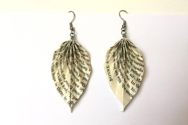 Book Page Origami Earrings