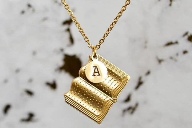 Brass Book Charm Necklace