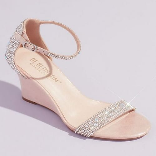 crystal embellished metallic wedge shoe