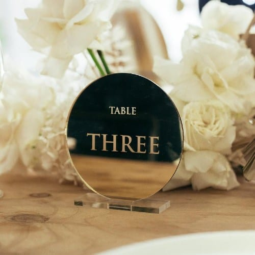 Etched Mirror table number signs