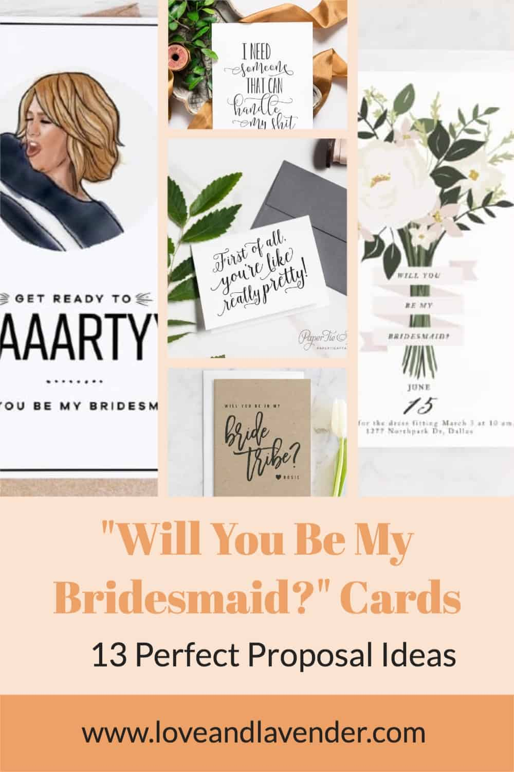 pinterest pin - will you be my bridesmaid cards