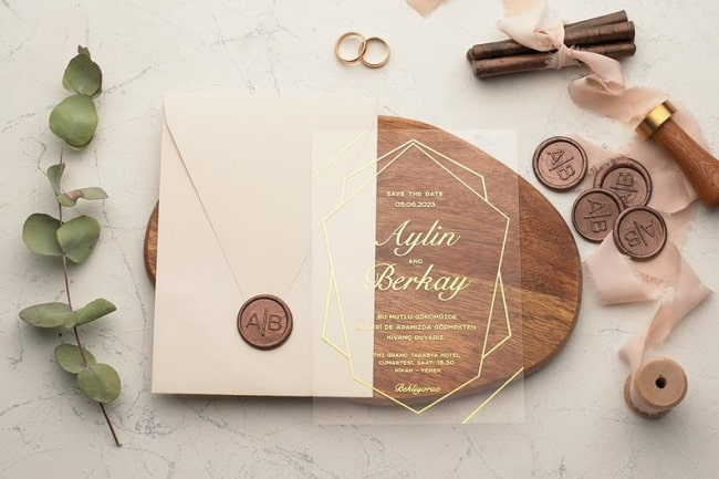 Acrylic Wedding Invitation with Wax Seal