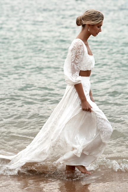Bare Midriff Wedding Gown