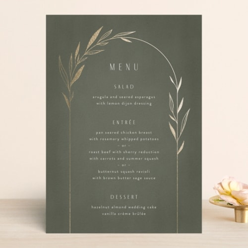 botanical wedding menu card