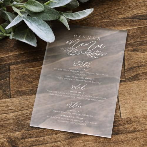 Clear Acrylic Wedding Menu Card
