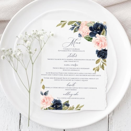 Boho Floral Menu Card