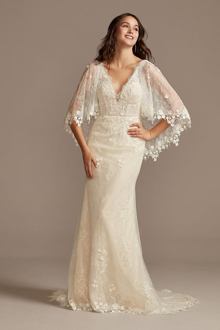Lace Dress with Crochet Capelet