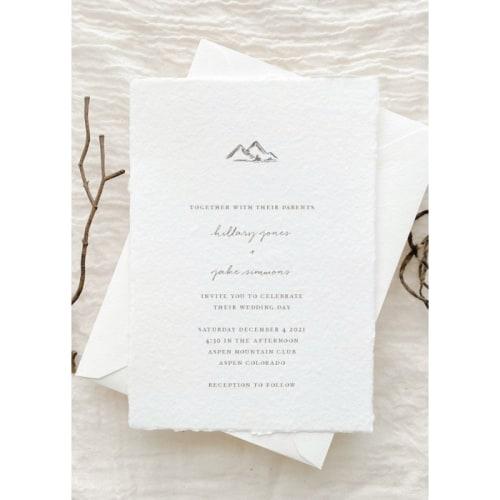 Simple Mountain Wedding Invitation