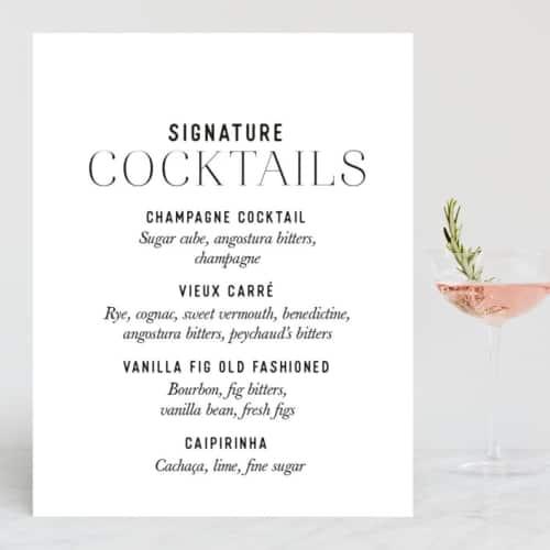 wedding cocktail menu sign
