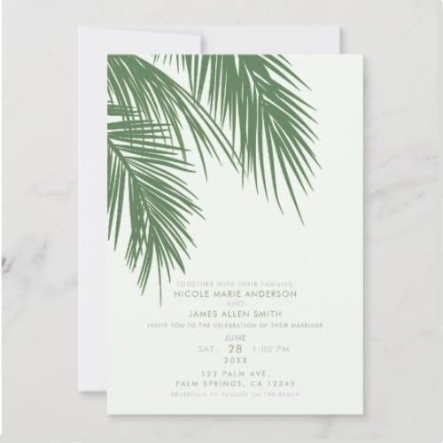 Elegant Palm Tree Wedding Invitation
