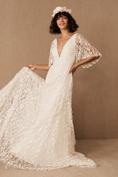 Boho Plunging Neckline Wedding Dress