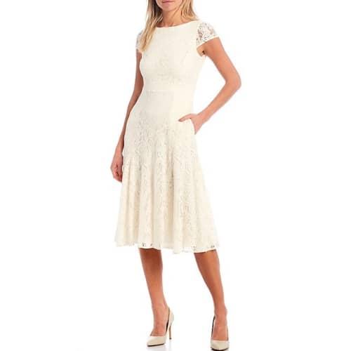 Lace Cap Sleeve A-Line Midi Dress