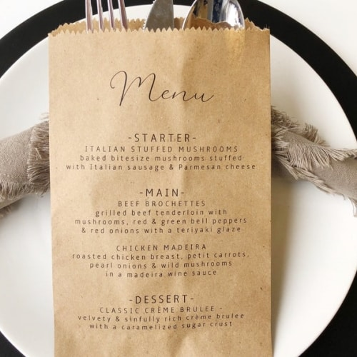 Minimalist Wedding Menu Bags