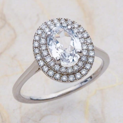 Oval Cut White Sapphire Engagement Ring